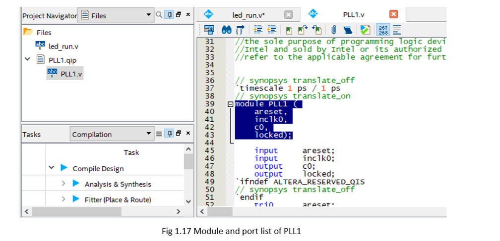 Module and port list of PLL1