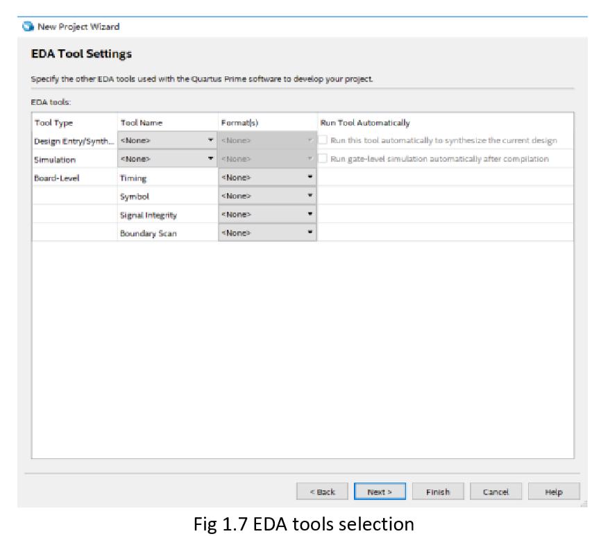 EDA tool settings