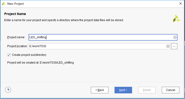 New Project-Project Name dialog box