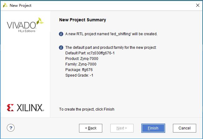 New Project Summary dialog box