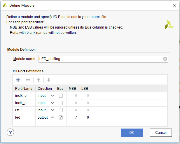 Define Module dialog box (for port difinition)