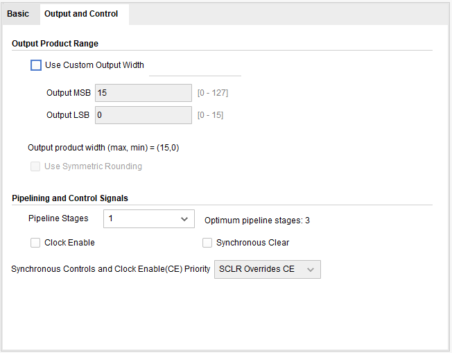 Multiplier output settings
