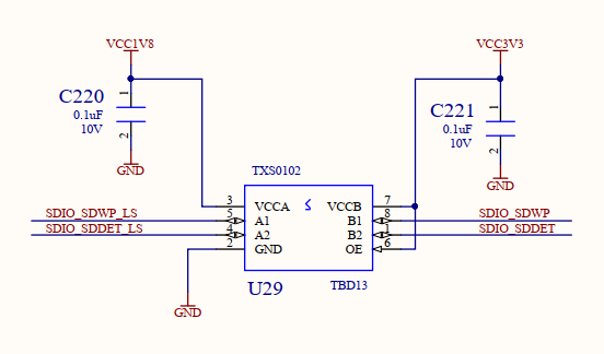 Schematics of the voltage level shifting chip TXS0102